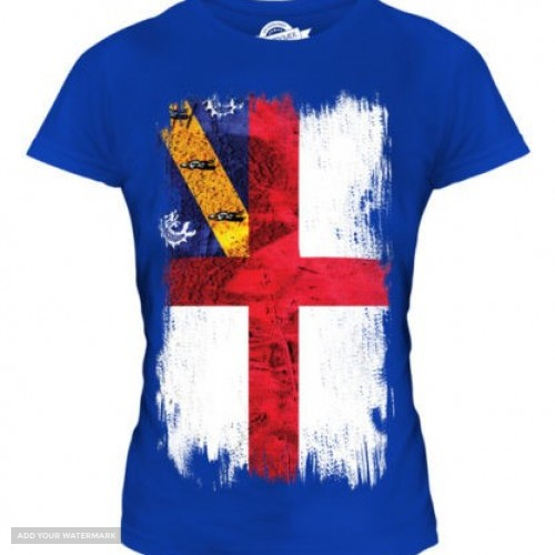 HERM GRUNGE FLAG LADIES T-SHIRT TEE TOP FOOTBALL GIFT SHIRT CLOTHING JERSEY