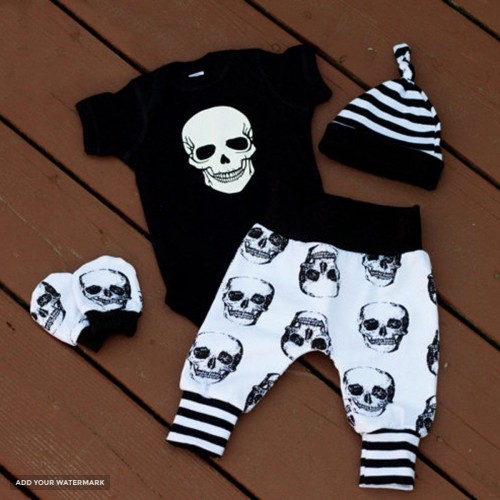 Punk Skull  Newborn Baby Boys Set